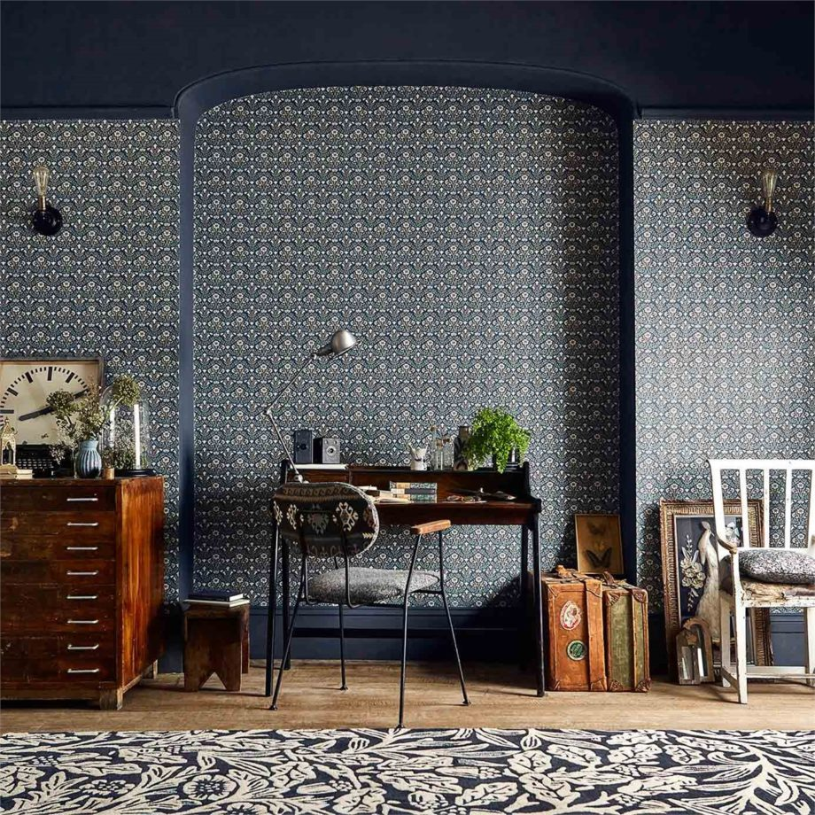 2 Morris Bellflower living space blue wallpaper botanical style library